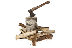 Photo of axe in the birch stump and woods Royalty Free Stock Photography