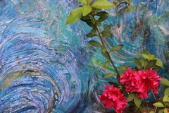 Abstract Acrylic Painting Oceanic Colors With My Azalea In The Foreground stock images