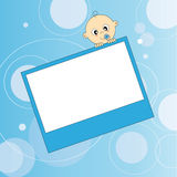 Photo baby boy. Baby boy arrival card. Picture frame or text Royalty Free Stock Photography