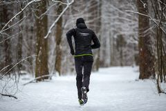 Photo from back of athlete on run in winter. Forest Royalty Free Stock Photos