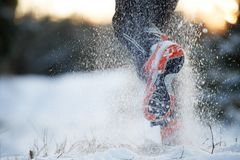 Photo from back of running man in sneakers on snowy forest. In winter at sunset Stock Image