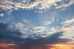 Photo background, colorful cloudy sky at sunset Stock Photography