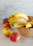 Photo of bananas in the soft focus. Vertical photo of bananas in the soft focus royalty free stock images