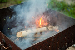 Photo of barbecue with log Stock Images