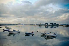 Barreiro Boats in River and Mills Royalty Free Stock Photos