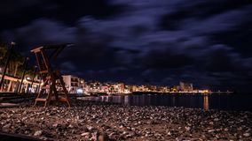 Photo of beach in Arinaga, Canary Island. Night photo of the beach of arinaga in gran canaria island, spain Royalty Free Stock Photo