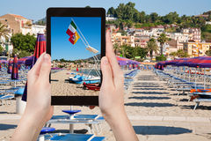 Photo of beach in Giardini Naxos, Sicily, Italy Stock Image