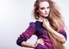Photo of beautiful fashion woman with magnificent hair. Royalty Free Stock Image