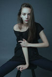 A photo of beautiful girl is in fashion style. Glamur Royalty Free Stock Photography