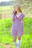 Photo of beautiful girl in spring. Outdoors Royalty Free Stock Photography