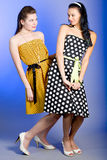Photo of beautiful girls. Two young beautiful girls in elegant dresses royalty free stock image