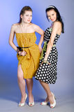Photo of beautiful girls. Two young beautiful girls in elegant dresses stock image