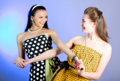 Photo of beautiful girls. Two young beautiful girls in elegant dresses royalty free stock photography