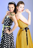 Photo of beautiful girls. Two young beautiful girls in elegant dresses royalty free stock photos