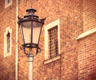 Photo of beautiful lamp post and vintage old windows in Wroclaw, Royalty Free Stock Image