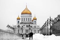 Photo of a beautiful landscape with the Cathedral of Christ the Savior. In Moscow Royalty Free Stock Photography