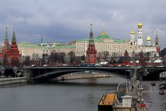 Photo of the beautiful landscape of the Moscow Kremlin with a bridge and a river stock photo