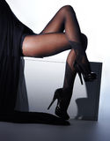 Photo of beautiful legs in nice stockings Royalty Free Stock Images
