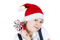 Photo of beautiful little girl with gift box Royalty Free Stock Photo