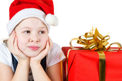 Photo of beautiful little girl with  gift box Stock Images