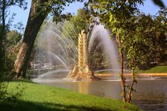 Photo of a beautiful macro fountain VDNH Moscow Stock Images
