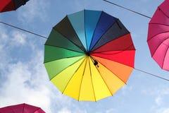 Photo of beautiful multi-colored umbrellas Stock Photos