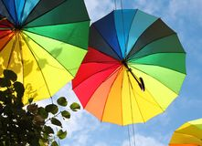 Photo of beautiful multi-colored umbrellas Royalty Free Stock Images