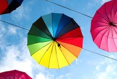 Photo of beautiful multi-colored umbrellas Royalty Free Stock Image