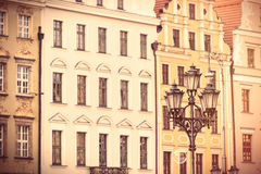 Photo of beautiful old buildings and vintage lamp post in Wrocla Stock Photography