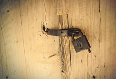Photo of beautiful old lock of the wooden gate doors Royalty Free Stock Photography