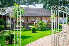 Gazebo with terrace and metal fence Royalty Free Stock Photography