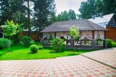 Pergola with terrace Stock Photo