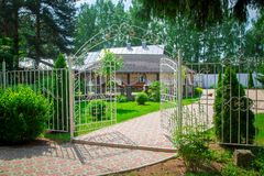 Pergola with terrace and metal fence Royalty Free Stock Images