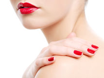 Photo of a beautiful red female lips Stock Photo
