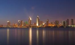 Photo of beautiful San Diego cityscape. In reflection from Coronado island royalty free stock image