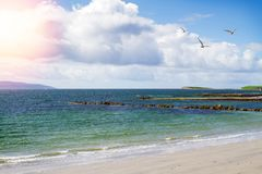 Photo of a beautiful scenic sea and sky landscape. View of ocean scenery. Beach and promenade, West coast of Ireland, Galway, Salthill, Atlantic ocean. Sea royalty free stock images