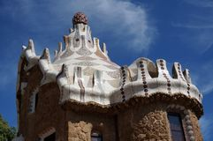 Beautiful Park Guell Spire Detail. Photo of beautiful spire at park guell in barcelona spain. This park was designed by architect antonio gaudi royalty free stock photos