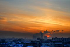 Photo of a beautiful sunset landscape. Over the city of Moscow Royalty Free Stock Photography