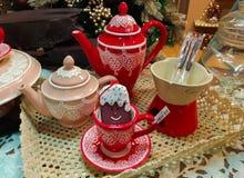Beautiful tea service at Christmas market of Bozen in wintertime. Photo of beautiful tea service at Christmas market of Bozen in wintertime royalty free stock photo