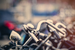 Photo of beautiful view on chain of cool bicycles on the parking. Photo of view on chain of cool bicycles on the parking Stock Photo