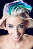 Photo of beautiful woman with colored hair Stock Photo