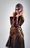 Photo of beautiful woman with hat, sunglasses and coat isolated Stock Photos