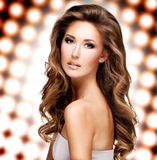 Photo of a beautiful woman with long brown hair Stock Image