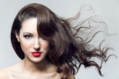 Photo of beautiful woman with magnificent hair Royalty Free Stock Photography