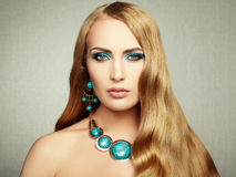 Photo of beautiful woman with magnificent hair. Perfect makeup Royalty Free Stock Photography