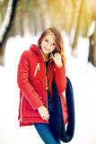 Photo beautiful woman in winter park. Royalty Free Stock Photo