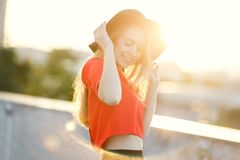 Photo of beautiful young blond woman royalty free stock photos
