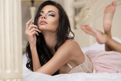 Photo of beautiful young brunette girl Stock Photo