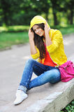 Photo of beautiful young woman. Stylish clothes Royalty Free Stock Images