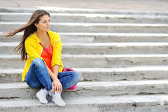Photo of beautiful young woman. Stylish clothes Royalty Free Stock Photos